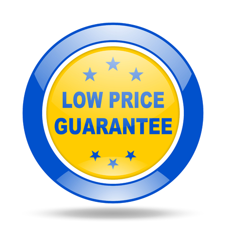 low price: low price guarantee round glossy blue and yellow web icon