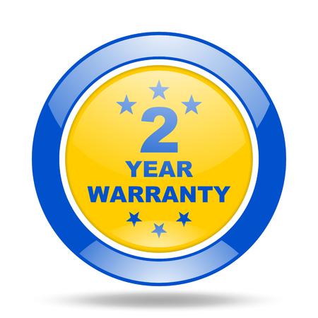 web 2: warranty guarantee 2 year round glossy blue and yellow web icon