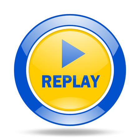 proceed: replay round glossy blue and yellow web icon