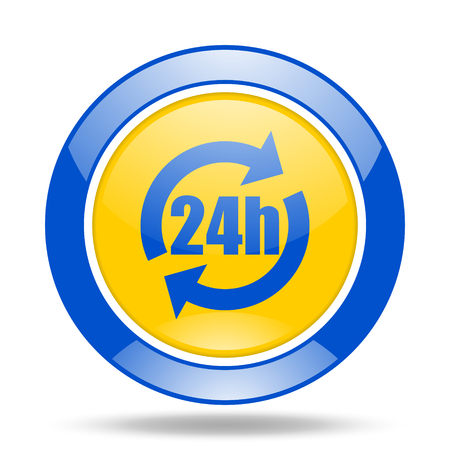 24h: 24h round glossy blue and yellow web icon