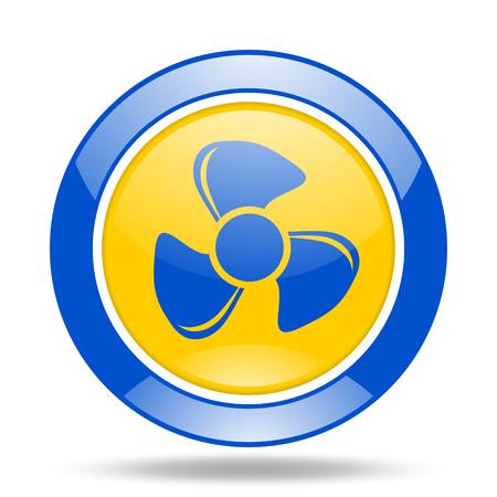 fan round glossy blue and yellow web icon