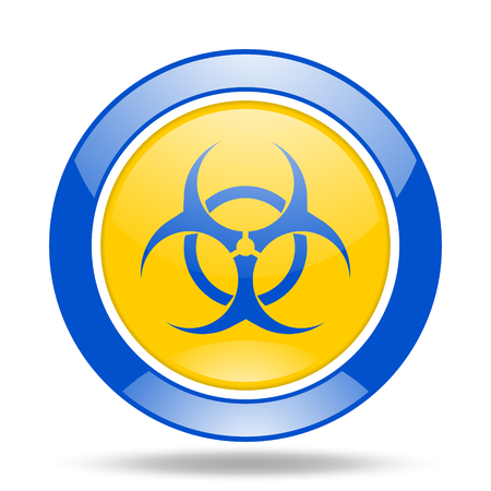 biohazard round glossy blue and yellow web icon