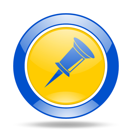 pin round glossy blue and yellow web icon Stock Photo