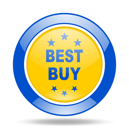 best buy: best buy round glossy blue and yellow web icon Stock Photo