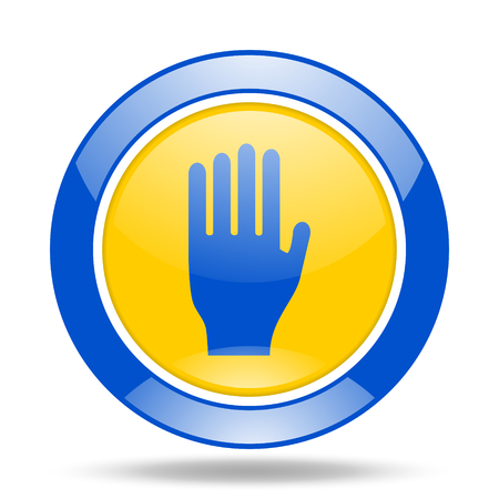 glossy button: stop round glossy blue and yellow web icon