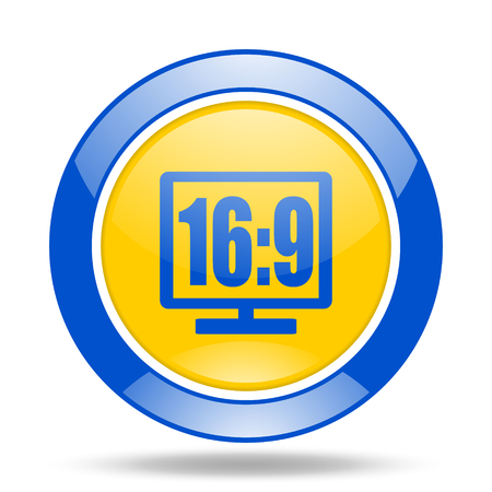 16 9: 16 9 display round glossy blue and yellow web icon