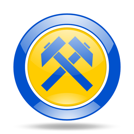mining round glossy blue and yellow web icon