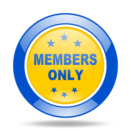 members only: members only round glossy blue and yellow web icon