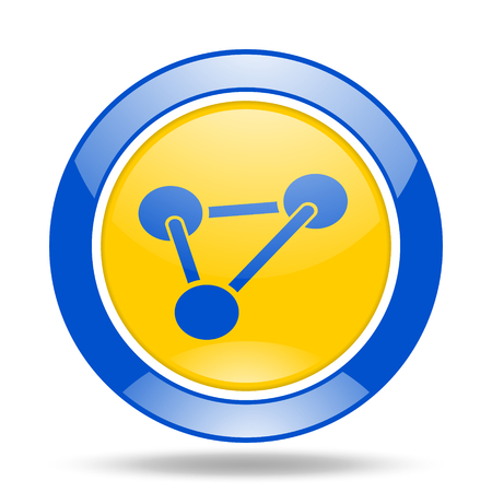 chemistry round glossy blue and yellow web icon Stock Photo