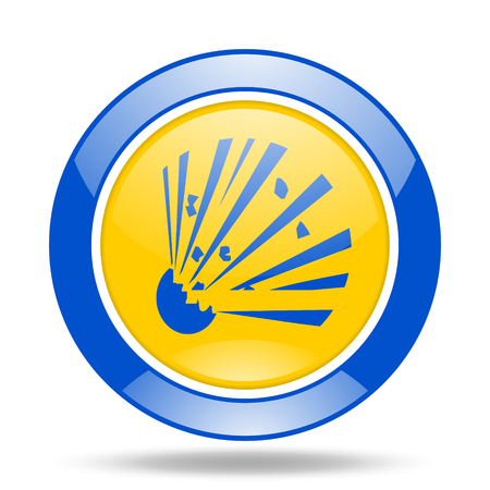bomb round glossy blue and yellow web icon