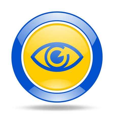 optician: eye round glossy blue and yellow web icon Stock Photo