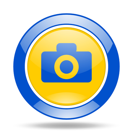 picto: camera round glossy blue and yellow web icon Stock Photo