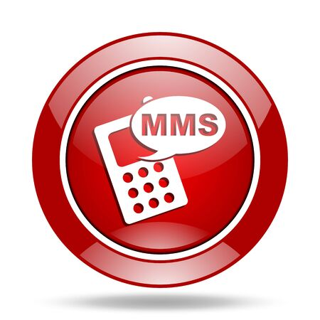 mms: mms round glossy red web icon