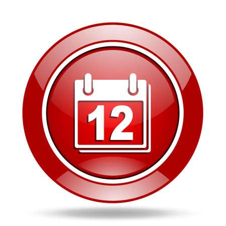 calendar round glossy red web icon Stock Photo