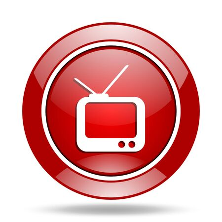 tv round glossy red web icon