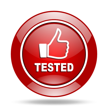 tested: tested round glossy red web icon Stock Photo