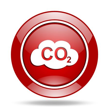 dioxido de carbono: el dióxido de carbono ronda icono de web brillante de color rojo