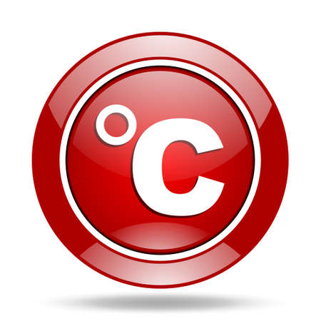 celsius: celsius round glossy red web icon Stock Photo