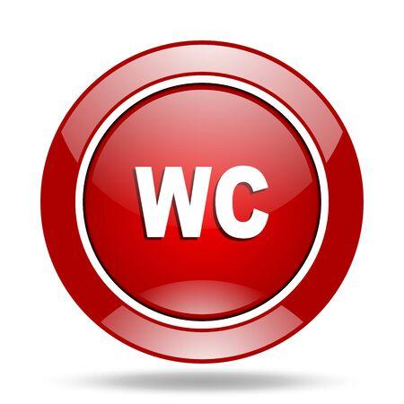 toilette: toilet round glossy red web icon