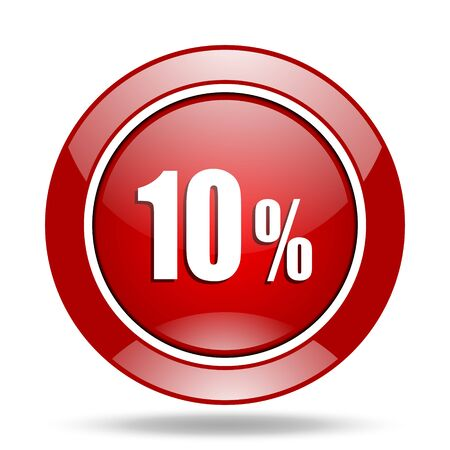 10 percent round glossy red web icon