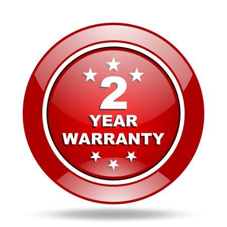 web 2: warranty guarantee 2 year round glossy red web icon