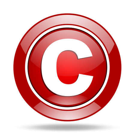 copyright round glossy red web icon