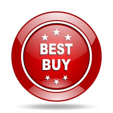best buy: best buy round glossy red web icon