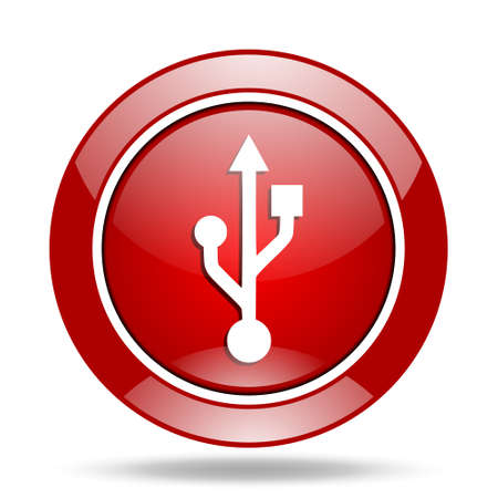 usb round glossy red web icon Stock Photo