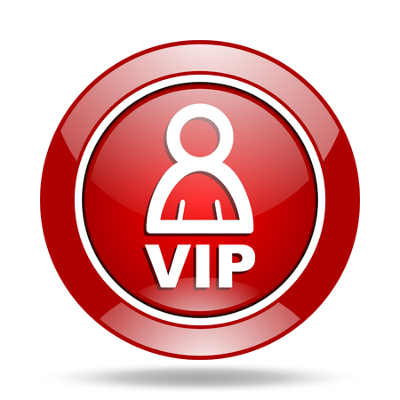 vip round glossy red web icon