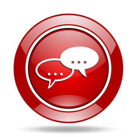 chat icon: forum round glossy red web icon