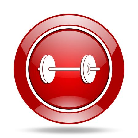 circular muscle: fitness round glossy red web icon