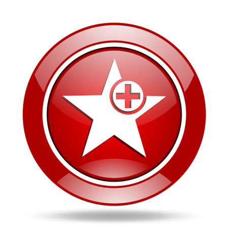 preference: star round glossy red web icon Stock Photo