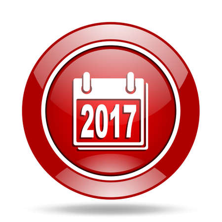 new year 2017 round glossy red web icon Stock Photo