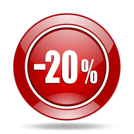 bargaining: 20 percent sale retail round glossy red web icon Stock Photo