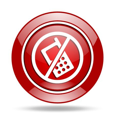 phone ban: no phone round glossy red web icon