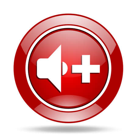 volume control: speaker volume round glossy red web icon