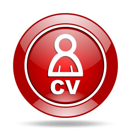 cv round glossy red web icon Stock Photo