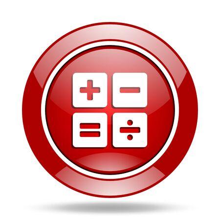 calculator round glossy red web icon