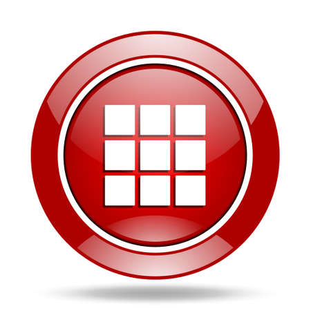 thumbnails: thumbnails grid round glossy red web icon Stock Photo