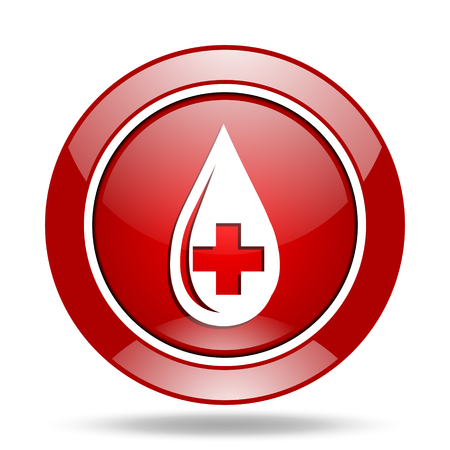 blood round glossy red web icon
