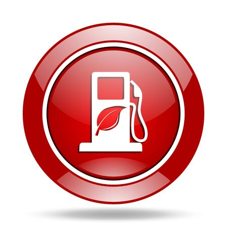biofuel round glossy red web icon Stock Photo