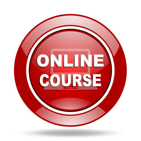 course development: online course round glossy red web icon Stock Photo