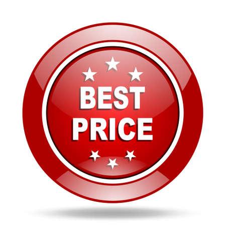 best price: best price round glossy red web icon Stock Photo