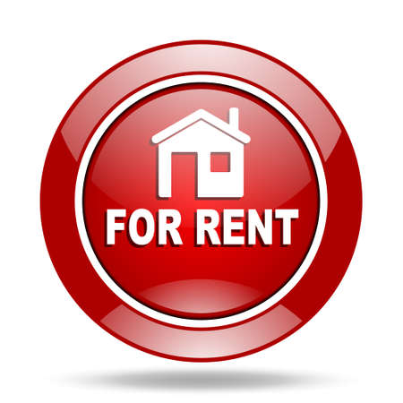 apartment for rent: for rent round glossy red web icon