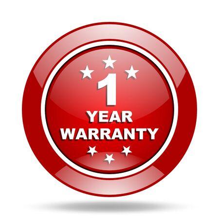 1 year: warranty guarantee 1 year round glossy red web icon Stock Photo