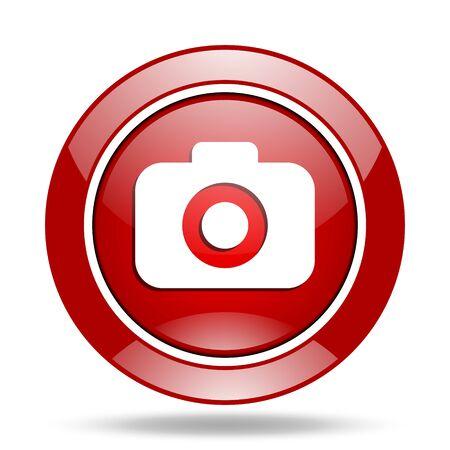 photo camera round glossy red web icon Stock Photo