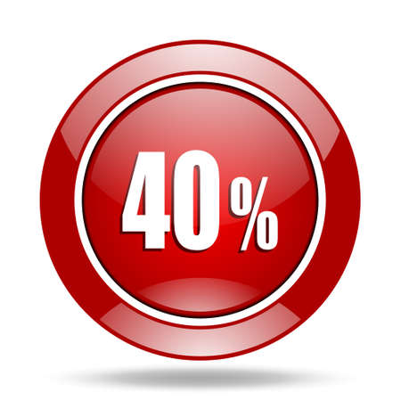 40: 40 percent round glossy red web icon