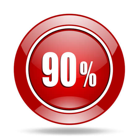 90 percent round glossy red web icon