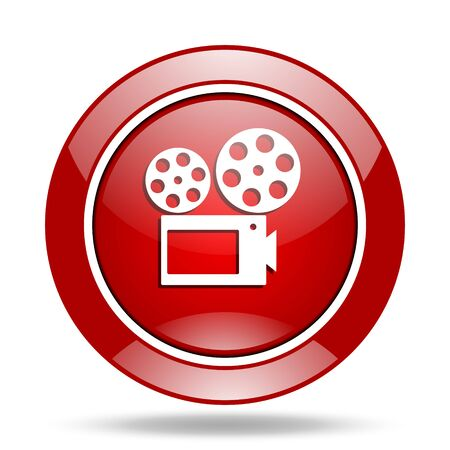 watch movement: movie round glossy red web icon