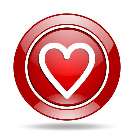 heart round glossy red web icon